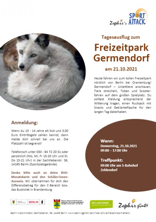 Flyer Download Tagesausflug zum Freizeitpark Germendorf